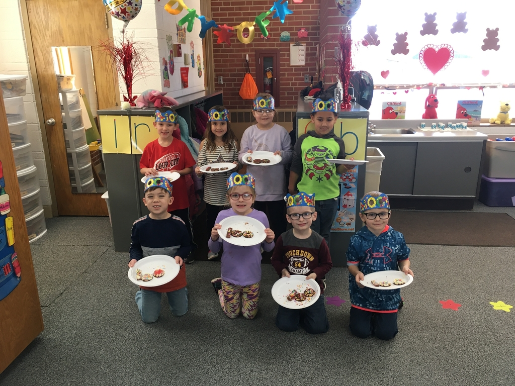 Kindergartners with their 100 Day Snack!